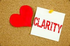 Inspiration conceptuelle de légende des textes d'écriture de main montrant le concept de clarté pour le message de clarté et l'am Image libre de droits