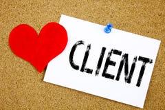 Inspiration conceptuelle de légende des textes d'écriture de main montrant le concept de client pour des affaires de client de cl Image libre de droits