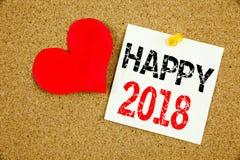 Inspiration conceptuelle de légende des textes d'écriture de main montrant le concept 2018 heureux pour la célébration de vacance Photos stock