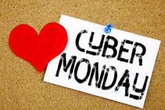 Inspiration conceptuelle de légende des textes d'écriture de main montrant le concept de lundi de Cyber pour la remise de magasin Image stock