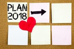 Inspiration conceptuelle de légende des textes d'écriture de main montrant le concept 2018 de plan pour le plan d'action de strat Photos libres de droits