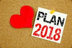Inspiration conceptuelle de légende des textes d'écriture de main montrant le concept 2018 de plan pour le plan d'action de strat Images stock