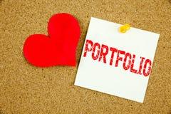Inspiration conceptuelle de légende des textes d'écriture de main montrant le concept de portfolio pour la conception de vente d' Photographie stock
