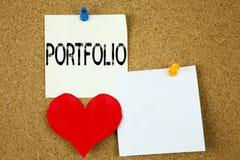Inspiration conceptuelle de légende des textes d'écriture de main montrant le concept de portfolio pour la conception de vente d' Image libre de droits
