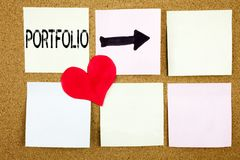 Inspiration conceptuelle de légende des textes d'écriture de main montrant le concept de portfolio pour la conception de vente d' Photo stock