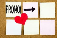 Inspiration conceptuelle de légende des textes d'écriture de main montrant le concept de promo pour la promotion de produit d'ach Image stock