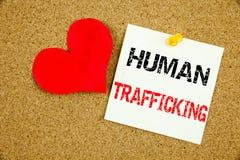 Inspiration conceptuelle de légende des textes d'écriture de main montrant le concept de trafic humain pour la lutte contre le cr Photographie stock libre de droits