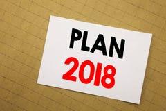 Inspiration conceptuelle de légende des textes d'écriture de main montrant le plan 2018 Concept d'affaires pour le plan d'action  illustration libre de droits