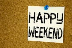 Inspiration conceptuelle de légende des textes d'écriture de main montrant le week-end heureux Concept d'affaires pour le jour de Images stock