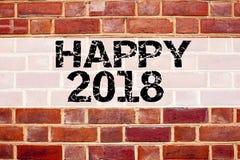 Inspiration conceptuelle de légende des textes d'annonce montrant 2018 heureux Concept d'affaires pour la célébration de vacances Photo libre de droits