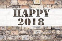 Inspiration conceptuelle de légende des textes d'annonce montrant 2018 heureux Concept d'affaires pour la célébration de vacances Photographie stock