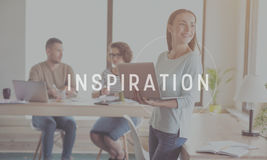 Inspiration and creativity concept. Inspire yourself. Inspirational typographic message for inspiration with image of young smiling businesswoman holding laptop royalty free stock photos