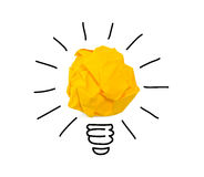 Inspiration crumpled yellow paper bulb idea Royalty Free Stock Photography