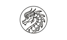 Inspiration de conception de Dragon Badge Medallion Logo illustration stock