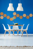 Inspiration de salle à manger de bleu royal images libres de droits