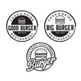 Inspiration för hamburgarelogodesign med hipsteren som drar stil - vektor vektor illustrationer