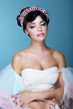 Inspiration. Fashion Model with Dramatic Theatrical Makeup and Diadem Stock Photography
