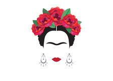 Inspiration Frida, portrait of modern Mexican woman with skull earrings, illustration with background transparent Stock Photo