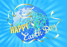 Inspiration Happy Earth Day. Globe and silhouette dove white banner on blue rays. Stock Image