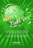 Inspiration Happy Earth Day. Globe and silhouette dove white banner on green rays. Royalty Free Stock Photography