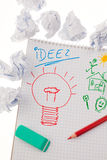Inspiration and ideas with bulb Royalty Free Stock Image