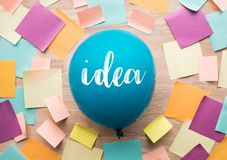 Inspiration ideas concepts with balloon and colorful notepaper. On wood table.nobody Royalty Free Stock Photos