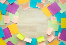 Inspiration ideas concepts with colorful notepaper on wood table. Nobody Stock Images