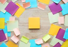 Inspiration ideas concepts with colorful notepaper on wood table. Nobody Stock Photos