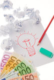 Inspiration and ideas. Symbol on a drawing. Stock Images