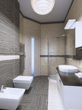 Inspiration for minimalist bathroom. Inspiration for bright minimalist bathroom. Interior with light contrast. 3D render Royalty Free Stock Photos