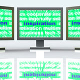 Inspiration Monitors Shows New And Original Ideas Royalty Free Stock Images