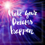Inspiration and motivation quotes. Motivational Quote on purple color background Make your dreams happen Royalty Free Stock Photos