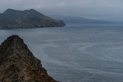 Inspiration Point on Anacapa Island, Channel Islands National Park. The dramatic view of Middle and West Anacapa Islands from Inspiration Point on East Anacapa royalty free stock photography