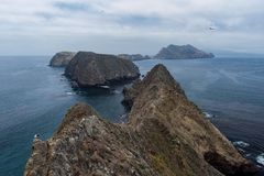 Inspiration Point on Anacapa Island, Channel Islands National Park. The dramatic view of Middle and West Anacapa Islands from Inspiration Point on East Anacapa royalty free stock images