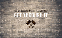 Inspiration quote : You are much stronger than you think,Get thr. Ough it ,Motivational typographic Royalty Free Stock Photos