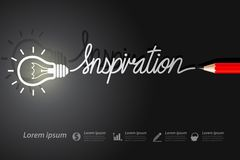 Inspiration. Red pencil write inspiration with light bulbs on background Royalty Free Stock Photo