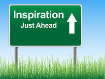 Inspiration road sign on the sky background. stock photos