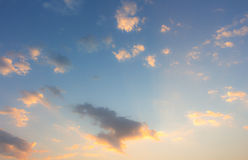 Inspiration sky and clouds on sunrise. Sunshine at clouds in the blue sky morning Stock Images
