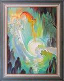 inspiration Stående av den härliga flickan som spelar flöjten i fantasimiljön Oljemålning på kanfas Arkivfoto