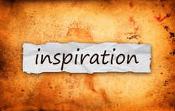 Inspiration title on piece of paper. Inspiration title on piece of crumpled old  paper Stock Images