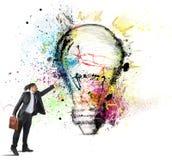 Inspiration to creative ideas. Businessman has great inspiration to creative ideas Royalty Free Stock Photography
