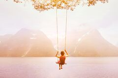 Free Inspiration, Travel And Daydream Concept, Beautiful Young Woman Romantic Dreamer On The Swing Royalty Free Stock Images - 211252909