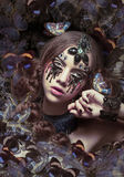 Inspiration. Woman with Fantastic Teardrops and Butterflies. Female with Fantastic Teardrops and Butterflies stock image