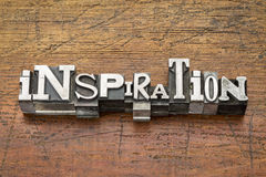 Inspiration word in metal type Stock Images