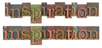 Inspiration word in wooden letterpress type Royalty Free Stock Photography