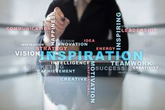 Inspiration words cloud on the virtual screen. Inspiration words cloud on the virtual screen Royalty Free Stock Photos