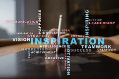 Inspiration words cloud on the virtual screen. Inspiration words cloud on the virtual screen Stock Photo