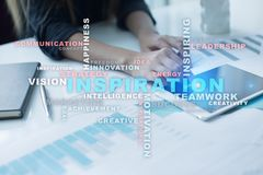 Inspiration words cloud on the virtual screen. Inspiration words cloud on the virtual screen Stock Photos