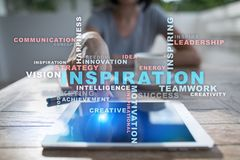 Inspiration words cloud on the virtual screen. Inspiration words cloud on the virtual screen Royalty Free Stock Image