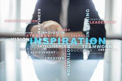 Inspiration words cloud on the virtual screen. Inspiration words cloud on the virtual screen Stock Image